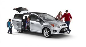 **Embargoed until 12:01 a.m. EST on Monday, Dec. 20, 2010**. The Ford C-MAX is an all-new, affordable compact family vehicle. It introduces a host of unique features, including an industry-exclusive hands-free rear liftgate, a versatile seating configuration with five seats in the main cabin and two smaller seats in the third row, twin sliding doors and active park assist.